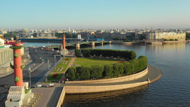 aerial view of the vasilievsky island and rostral columns - san pietroburgo russia video stock e b–roll