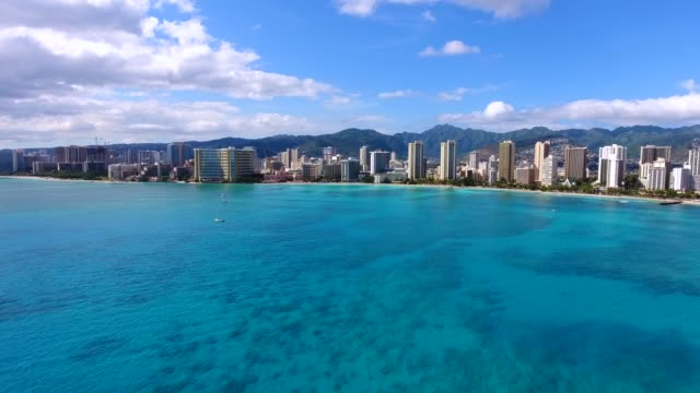 Aerial view of the Waikiki bay in Oahu,Hawaii waikiki stock videos & royalty-free footage