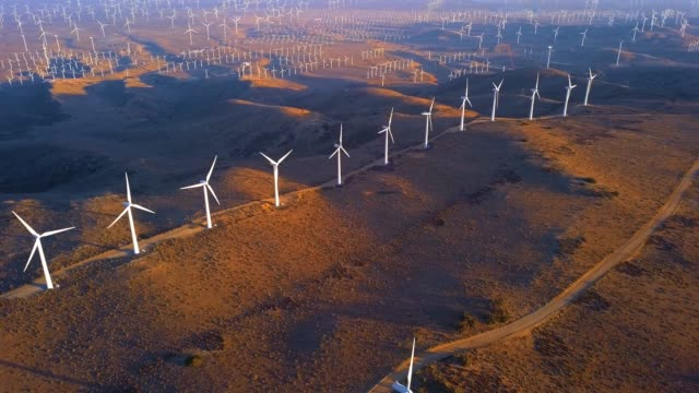 aerial view of the wind farm in nevada. - origini video stock e b–roll