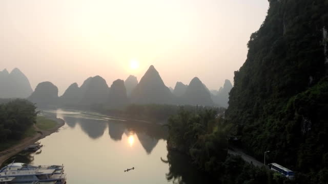 Aerial View of the Yulong River in Yangshuo, China video