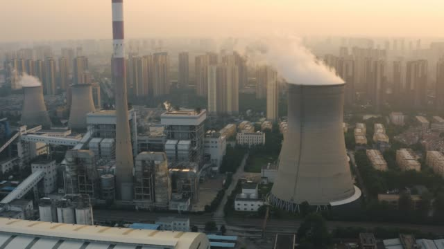 aerial view of thermal power plant - centrale termoelettrica video stock e b–roll