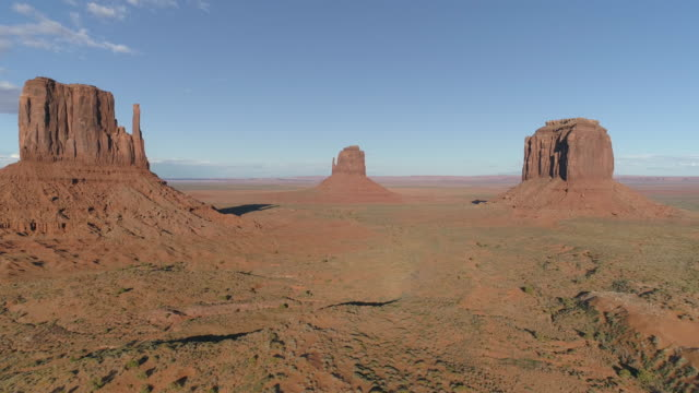 Aerial view of three cliffs in Monument Valley