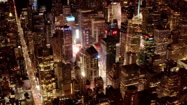 Aerial view of Times Square District at night 4K