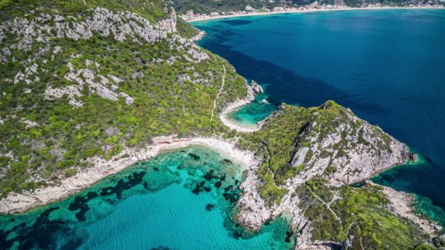 Aerial view of Timoni beach in Corfu, Greece