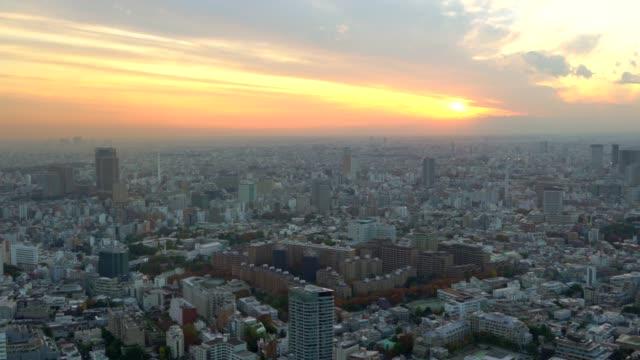 stockvideo's en b-roll-footage met luchtfoto van tokyo stadsgezicht bij zonsondergang - tokio kanto