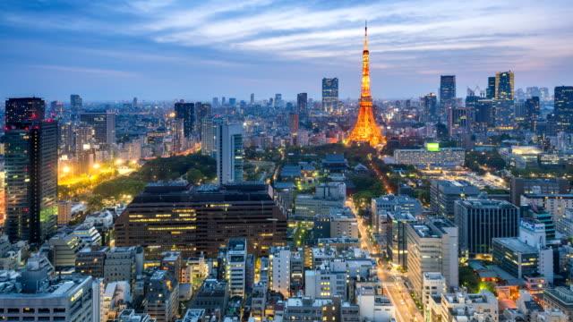 夕暮れ時、日本航空写真ビュー、東京タワーと東京スカイライン景観 - 東京タワー点の映像素材/bロール