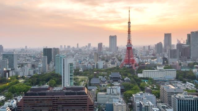 夕暮れ時、日本航空写真ビュー、東京タワーと東京スカイライン景観 - 富士山点の映像素材/bロール