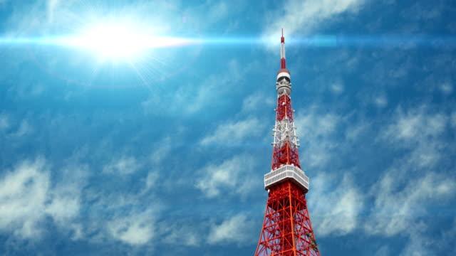 東京東京タワーの空撮日本 - 東京タワー点の映像素材/bロール
