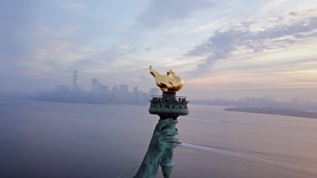 Aerial View of Torch Statue of Liberty 4K