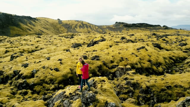 Aerial view of tourists woman standing on the rock on lava field in Iceland. Female use the smartphone in nature video