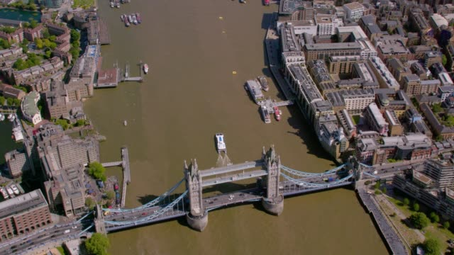 Aerial View of Tower Bridge, London, UK. 4K