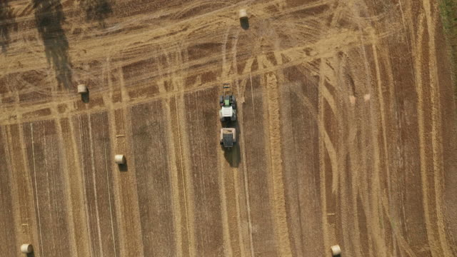 Aerial view of tractor collecting hay and releasing hay rolls on field