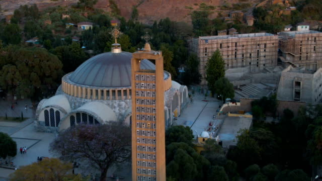 Aerial view of traditional Ethiopian wedding and church in Aksum in Ethiopia