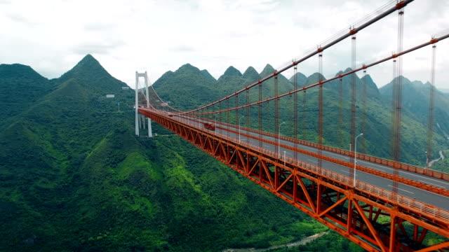 Aerial view of traffic on Balinghe bridge,Guizhou,China. Aerial view of traffic on Balinghe bridge,Guizhou,China. suspension bridge stock videos & royalty-free footage