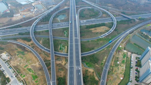 Aerial view of traffic on elevated freeway at intersection city suburbs,china video