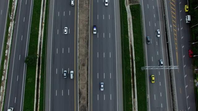 aerial view of traffic on motor highway bangkok thailand video