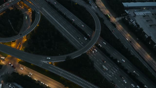 Aerial view of traffic on overpass