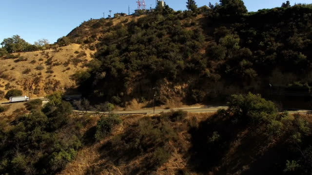 Aerial view of traffic on scenic Mulholland Dr video