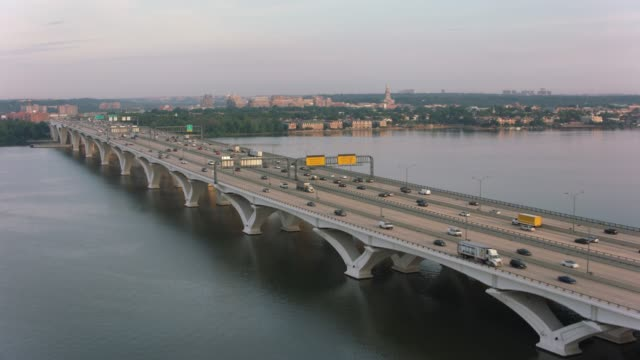 Aerial view of traffic on the Woodrow Wilson Bridge over the Potomac River.