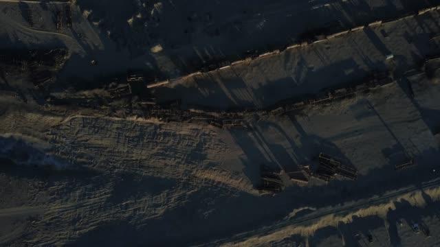 Aerial view of train cemetery in Uyuni, Bolivia