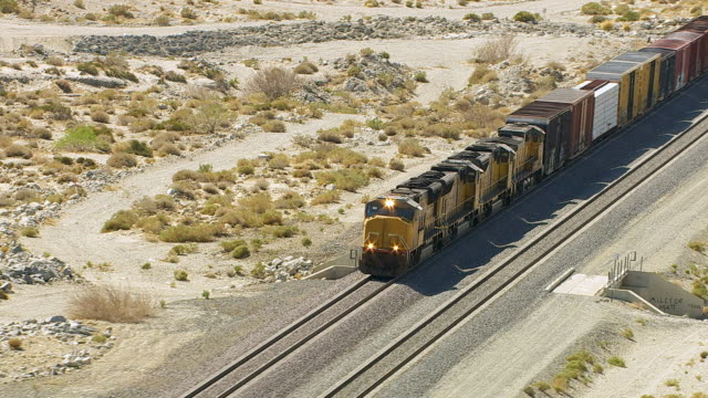 Aerial view of train in Southern California video