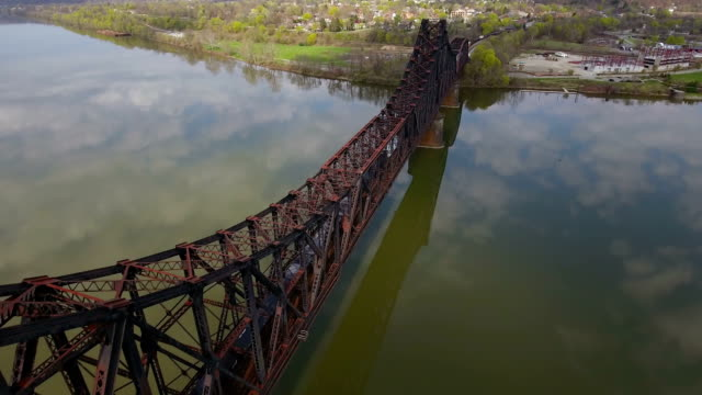 Aerial View of Train on Railroad Bridge Over Ohio River in Western Pennsylvania video