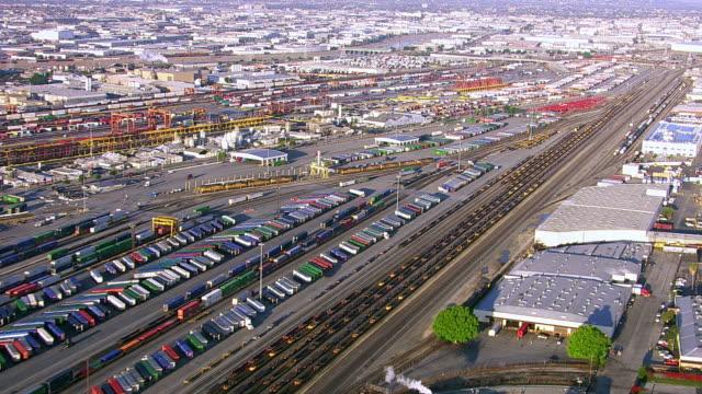 Aerial view of train yard in east Los Angeles video