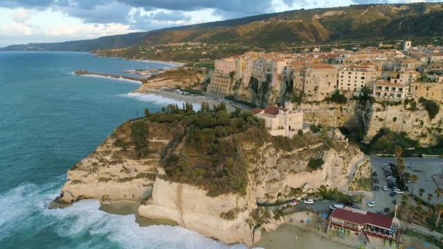 aerial view of tropea, a stunning town in the south of italy. 4k - video di tropea video stock e b–roll