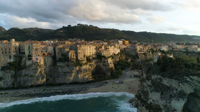 aerial view of tropea, a stunning town in the south of italy. 4k - tropea video stock e b–roll