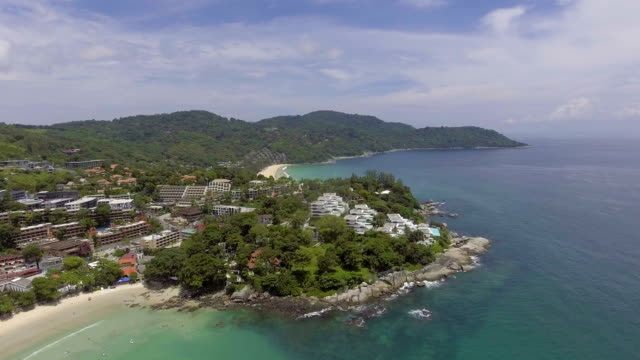 Aerial view of Tropical beach and small hill on Phuket Island, Thailand video