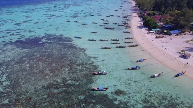 Aerial view of tropical beach, long tail boat, kayak and rocky coast with crystal clear turquoise water Koh Kla, Koh Lipe, Satun, Thailand Bird's eye view of tropical beach, long tail boat, kayak and rocky coast with crystal clear turquoise water Koh Kla, Koh Lipe, Satun, Thailand pattaya stock videos & royalty-free footage