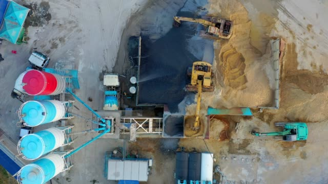 Aerial view of Truck mixer stands on site and Excavator of the concrete plant