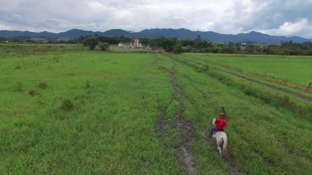 i̇ki insanın doğada ata binerek havadan görünümü - minas gerais eyaleti stok videoları ve detay görüntü çekimi