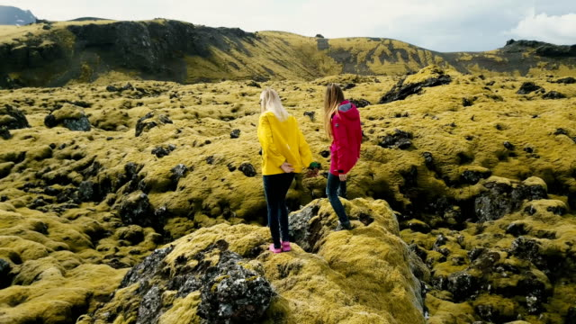 Aerial view of two woman standing on the rock, looking on the lava field in Iceland and dancing, feeling freedom, happy