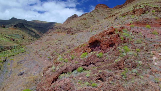 Aerial View of typical flora valley near by Punta de Avalo on Canary Islands La Gomera video