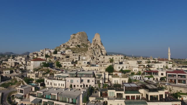 Aerial View of Uchisar Aerial View of Cappadocia, Turkey country geographic area stock videos & royalty-free footage