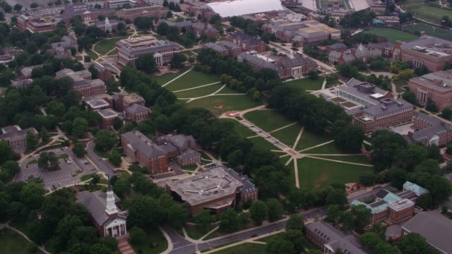 Aerial view of University of Maryland campus. Washington, D.C. circa-2017, Aerial view of University of Maryland campus.  Shot with Cineflex and RED Epic-W Helium. campus stock videos & royalty-free footage