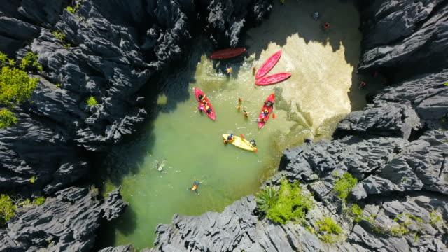 Aerial view of unseen travel destination Prasat Hin Pun,Yod Khao Yai Island at Satun,Thailand video