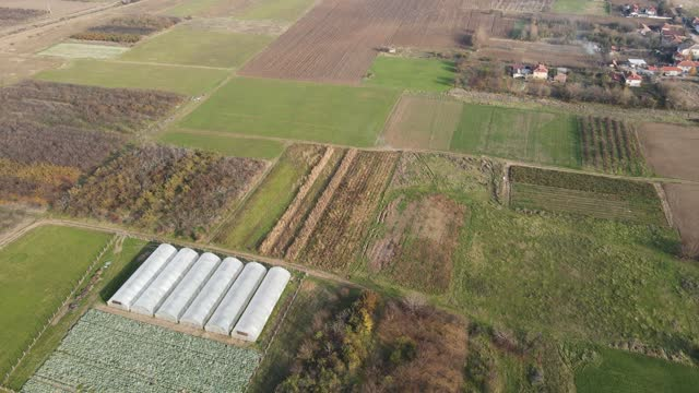 Aerial view of Upper Thracian Plain  near village of Tsalapitsa, Bulgaria