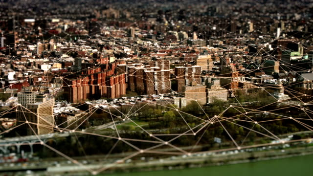Aerial view of Uptown Manhattan with connections. Technology-Futuristic. video