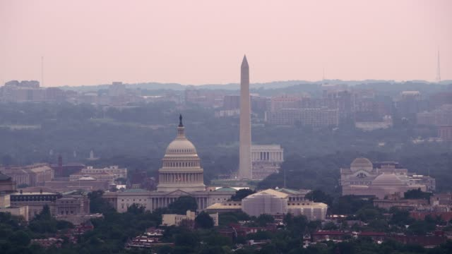 Aerial view of US Capitol Building.