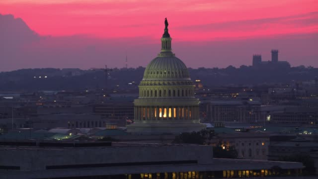 Aerial view of US Capitol Dome at sunset.