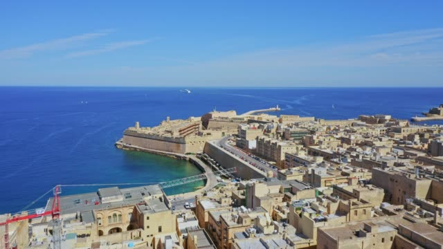 Aerial view of Valletta city and Grand harbor. Malta island