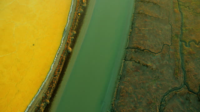 Aerial view of various rich minerals in salt ponds video
