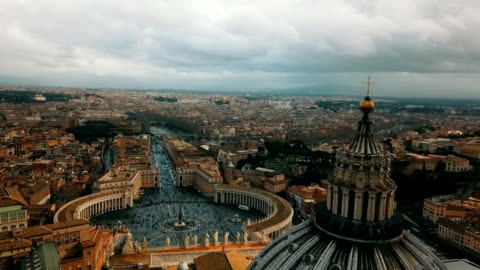 Aerial View of Vatican City Aerial View of St. Peter's Basilica in Vatican City and the City of Rome / Italy - 50 FPS Video europe stock videos & royalty-free footage