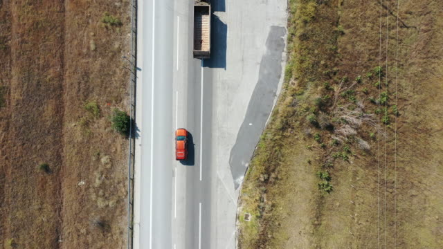 Aerial view of vehicle on road
