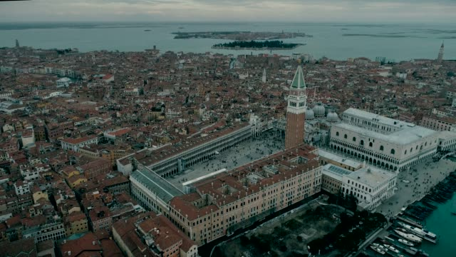 Aerial view of Venice panoramic landmark, aerial view of Piazza San Marco or st Mark square, Campanile and Ducale or Doge Palace. Italy, Europe. Drone view. video