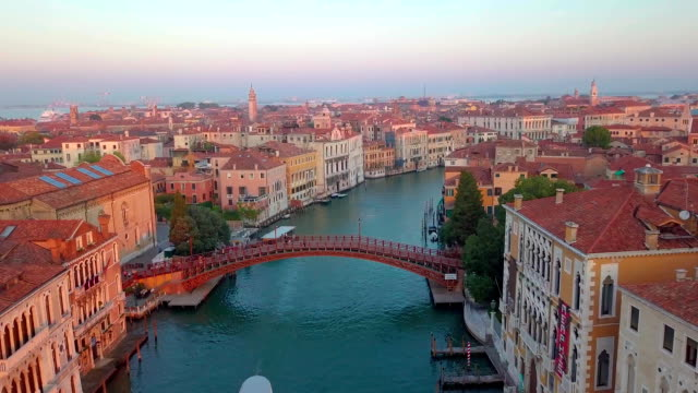 Aerial view of Venice. Scenic video taken at sunrise