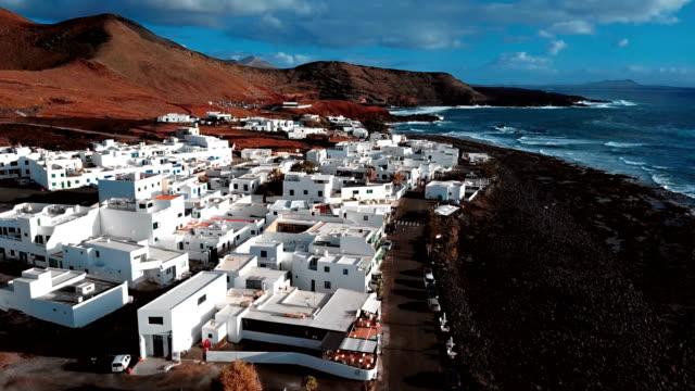 Aerial view of village El Golfo, Lanzarote, Canary Islands, Spain video