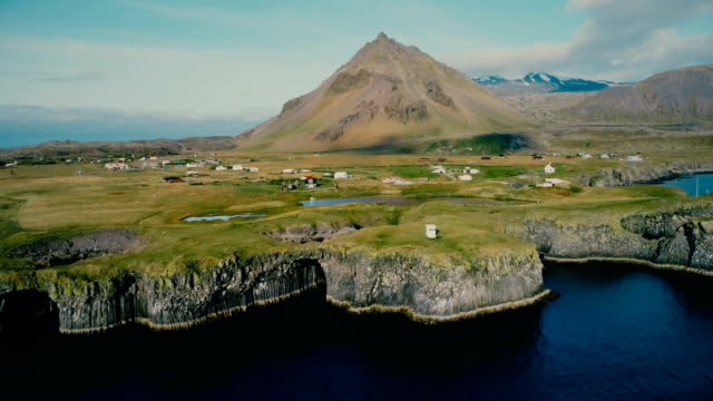 Aerial view of village on the coast in Iceland video